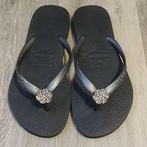Black Graphite Swarovski Havaianas Sandals 6W